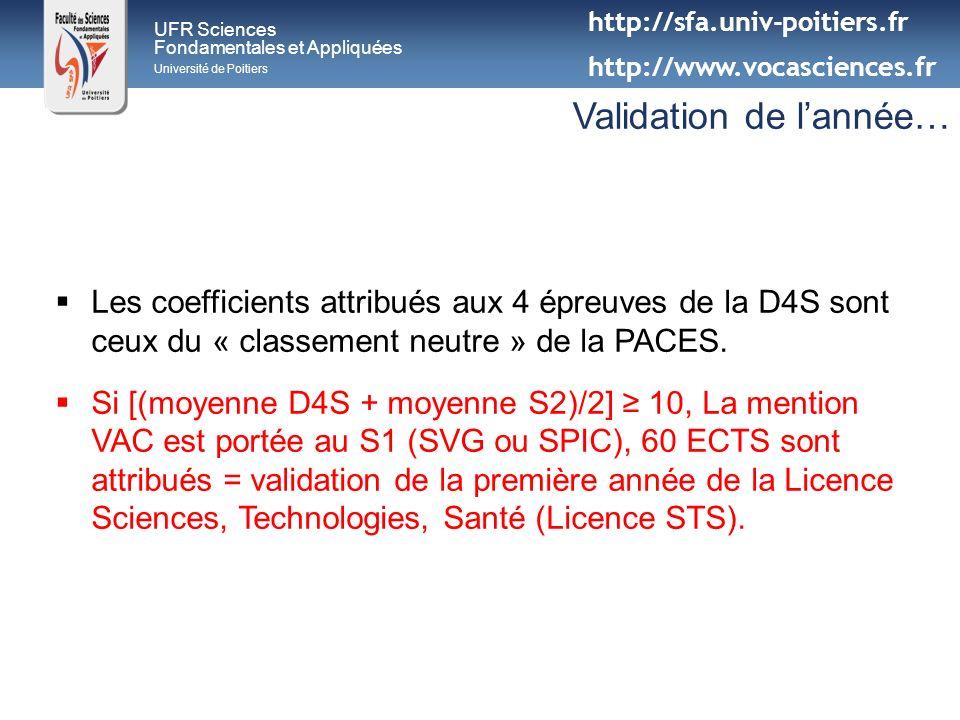 UFR Sciences Fondamentales et Appliquées Université de Poitiers Validation de lannée… Les coefficients attribués aux 4 épreuves de la D4S sont ceux du