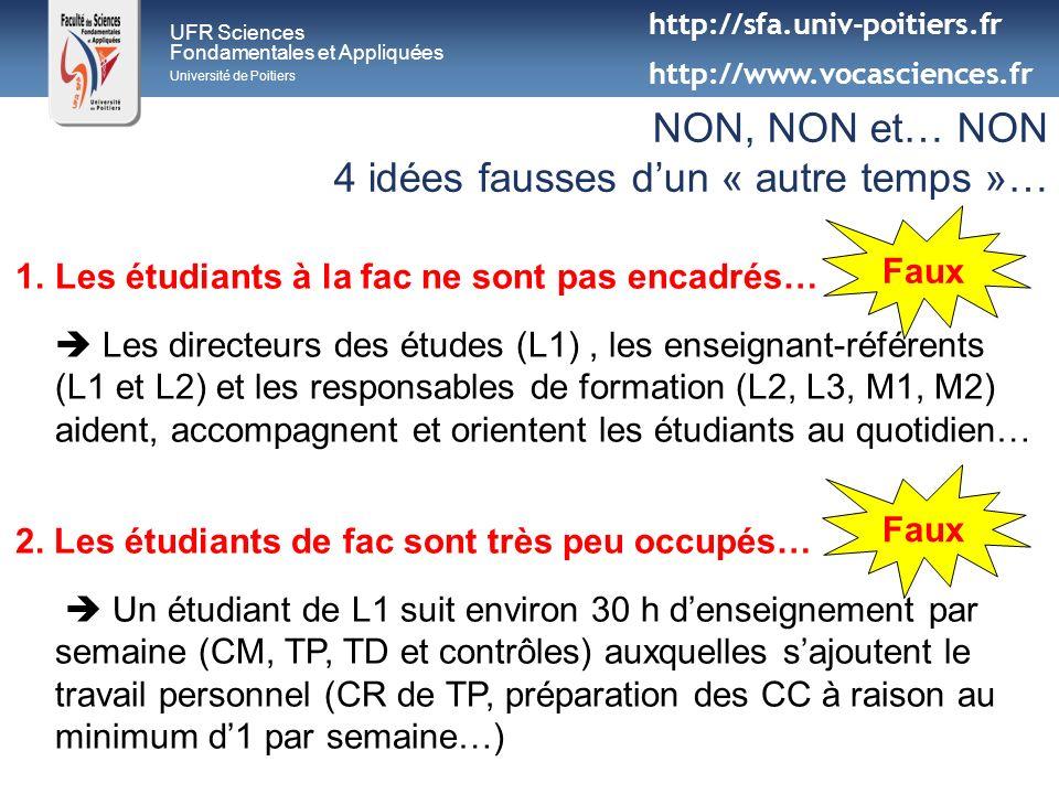 1.Les étudiants à la fac ne sont pas encadrés… Les directeurs des études (L1), les enseignant-référents (L1 et L2) et les responsables de formation (L