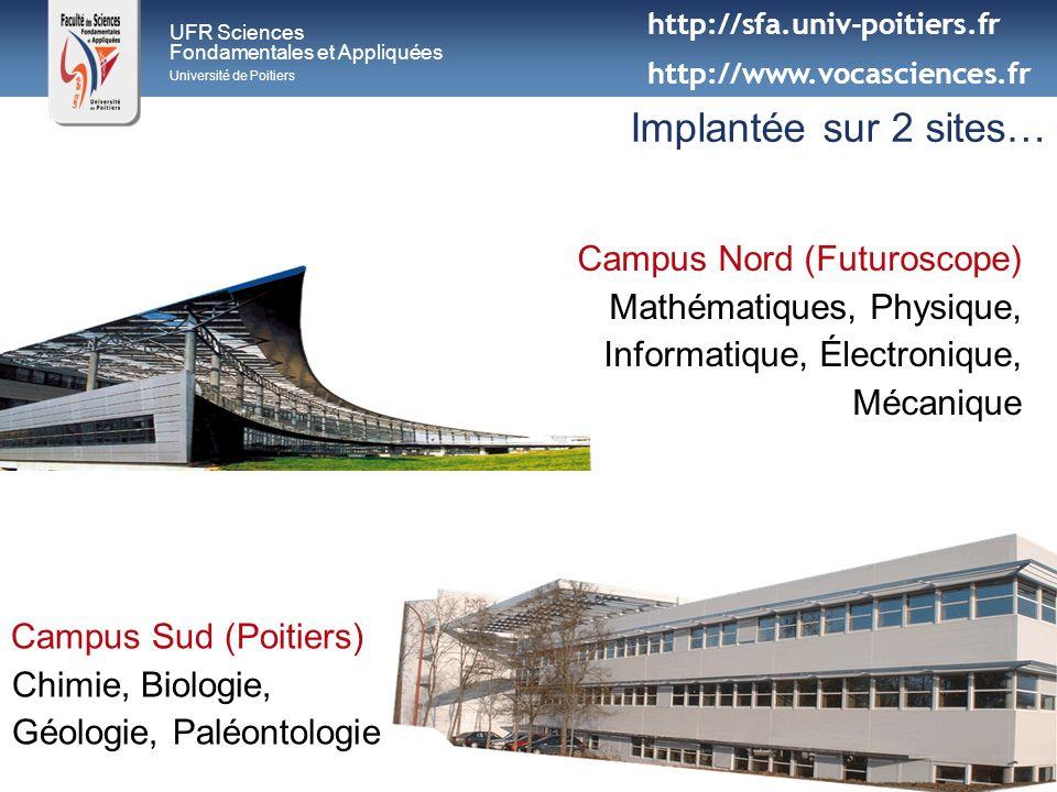 UFR Sciences Fondamentales et Appliquées Université de Poitiers Implantée sur 2 sites… Campus Nord (Futuroscope) Mathématiques, Physique, Informatique