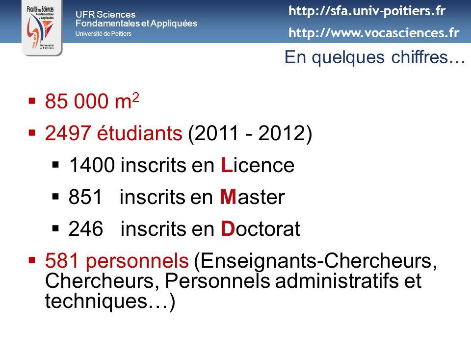 UFR Sciences Fondamentales et Appliquées Université de Poitiers En quelques chiffres… 85 000 m 2 2497 étudiants (2011 - 2012) 1400 inscrits en Licence