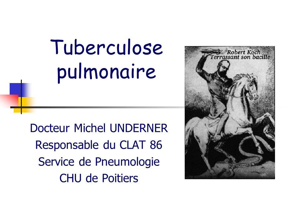 Docteur Michel Underner (Poitiers) Histoire naturelle de tuberculose SUJET CONTAGIEUX (cas index) SUJET CONTACT CONTAMINATION AERIENNE INFECTION TUBERCULEUSE TUBERCULOSE MALADIE INFECTION TUBERCULEUSE LATENTE (portage de BK sans signe de maladie) TUBERCULOSE EXTRA-PULMONAIRE TUBERCULOSE PULMONAIRE (>70%) PAS DE TUBERCULOSE MALADIE TUBERCULOSE MALADIE Réactivation tardive - Spontanée due à lâge - Sous leffet dune immunodépression