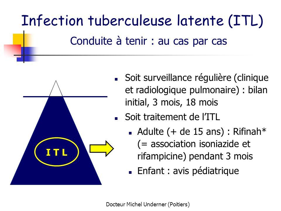 Docteur Michel Underner (Poitiers) Infection tuberculeuse latente (ITL) Conduite à tenir : au cas par cas I T L Soit surveillance régulière (clinique