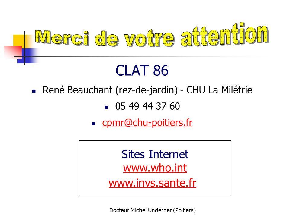 Docteur Michel Underner (Poitiers) CLAT 86 René Beauchant (rez-de-jardin) - CHU La Milétrie 05 49 44 37 60 cpmr@chu-poitiers.fr Sites Internet www.who