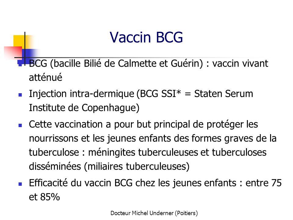 Docteur Michel Underner (Poitiers) Vaccin BCG BCG (bacille Bilié de Calmette et Guérin) : vaccin vivant atténué Injection intra-dermique (BCG SSI* = S