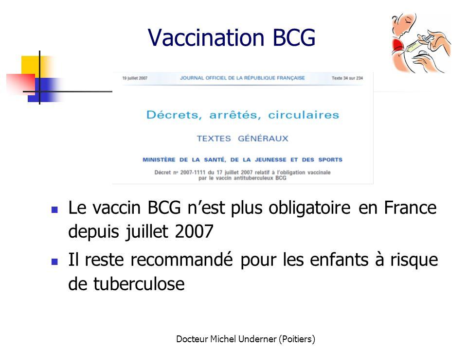 Docteur Michel Underner (Poitiers) Vaccination BCG Le vaccin BCG nest plus obligatoire en France depuis juillet 2007 Il reste recommandé pour les enfa