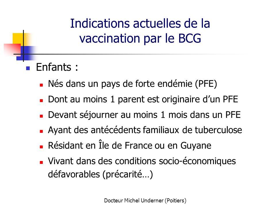 Docteur Michel Underner (Poitiers) Indications actuelles de la vaccination par le BCG Enfants : Nés dans un pays de forte endémie (PFE) Dont au moins