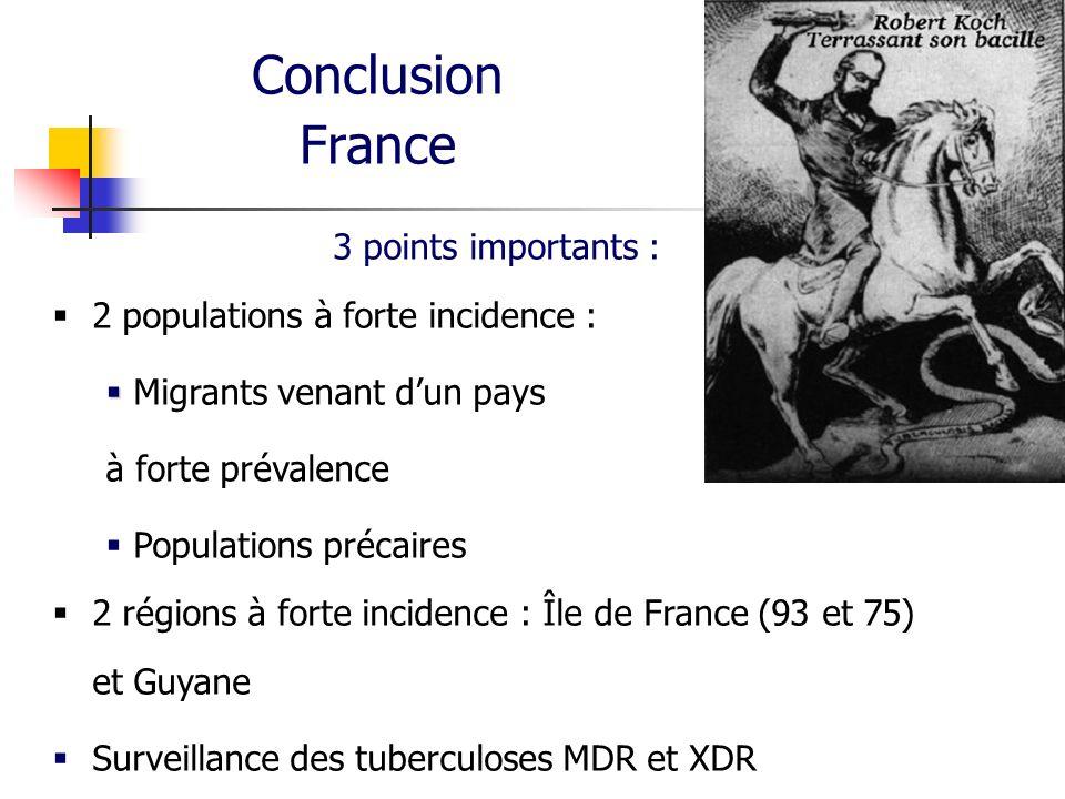 Conclusion France 3 points importants : 2 populations à forte incidence : Migrants venant dun pays à forte prévalence Populations précaires 2 régions