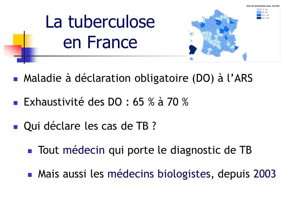 La tuberculose en France Maladie à déclaration obligatoire (DO) à lARS Exhaustivité des DO : 65 % à 70 % Qui déclare les cas de TB ? Tout médecin qui
