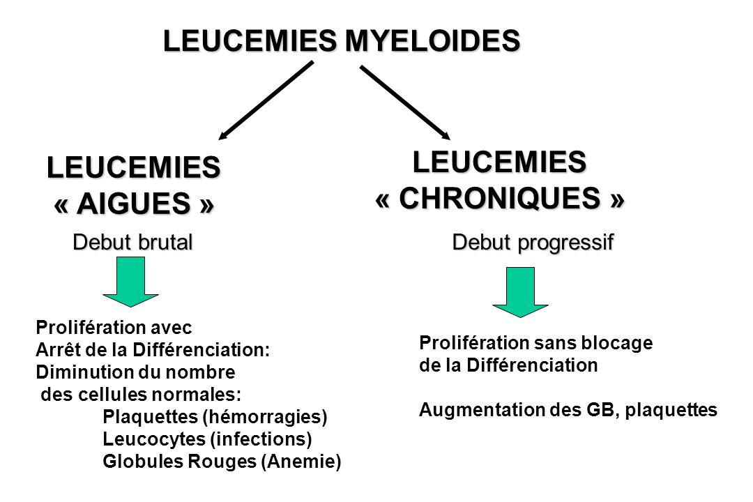 LEUCEMIES « AIGUES » LEUCEMIES « CHRONIQUES » Prolifération avec Arrêt de la Différenciation: Diminution du nombre des cellules normales: Plaquettes (