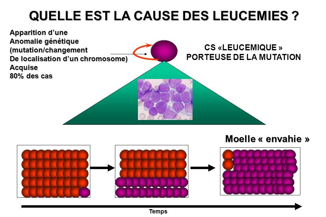 CS «LEUCEMIQUE » PORTEUSE DE LA MUTATION QUELLE EST LA CAUSE DES LEUCEMIES ? Apparition dune Anomalie génétique (mutation/changement De localisation d