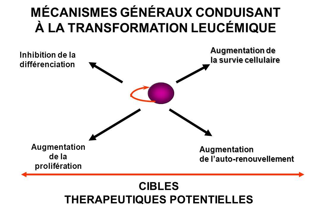 MÉCANISMES GÉNÉRAUX CONDUISANT À LA TRANSFORMATION LEUCÉMIQUE Augmentation de lauto-renouvellement Augmentation de la survie cellulaire Augmentation d
