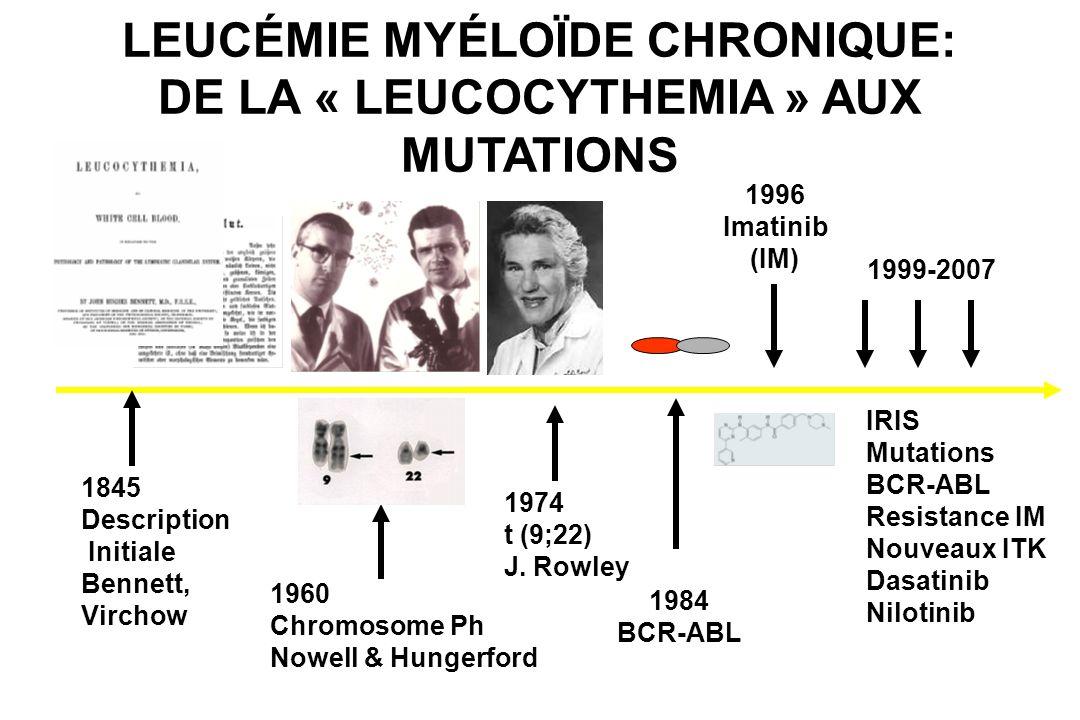 LEUCÉMIE MYÉLOÏDE CHRONIQUE: DE LA « LEUCOCYTHEMIA » AUX MUTATIONS 1845 Description Initiale Bennett, Virchow 1960 Chromosome Ph Nowell & Hungerford 1