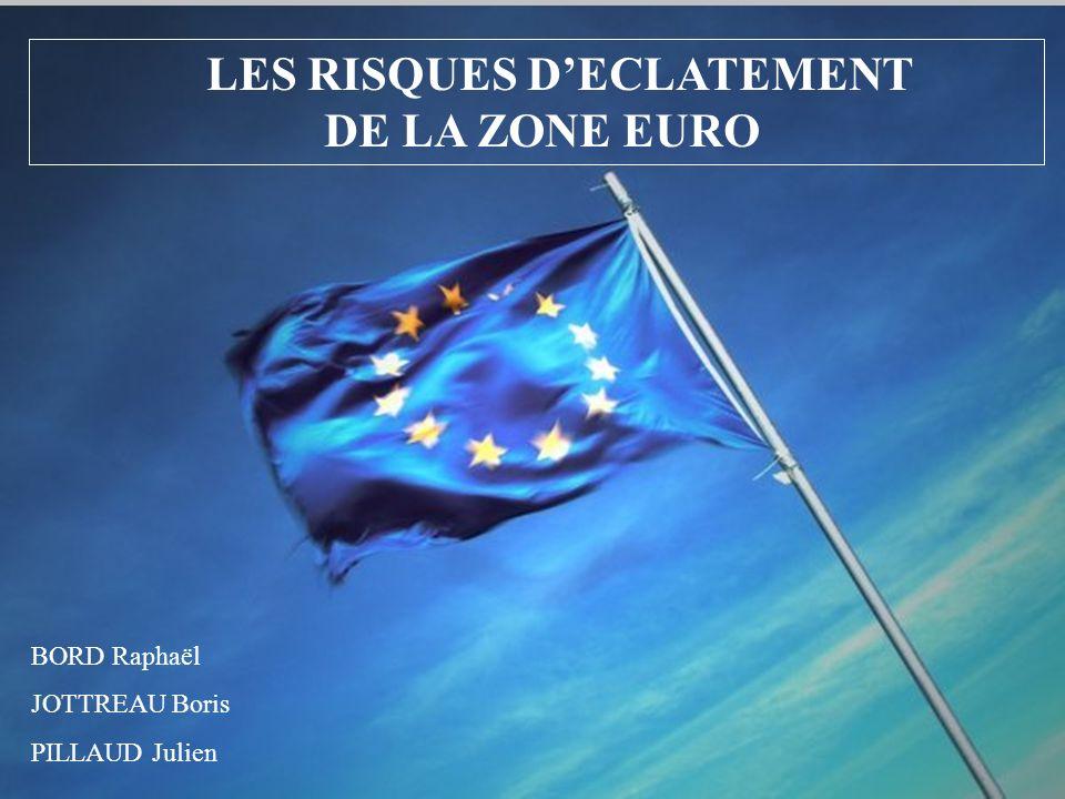 LES RISQUES DECLATEMENT DE LA ZONE EURO BORD Raphaël JOTTREAU Boris PILLAUD Julien