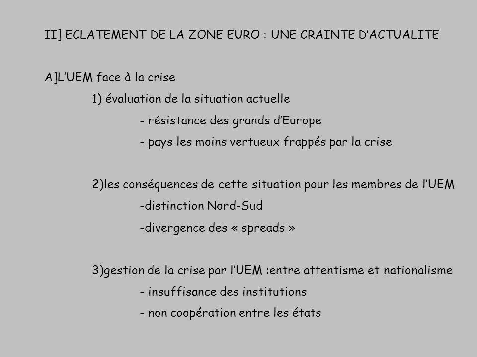 II] ECLATEMENT DE LA ZONE EURO : UNE CRAINTE DACTUALITE A]LUEM face à la crise 1) évaluation de la situation actuelle - résistance des grands dEurope