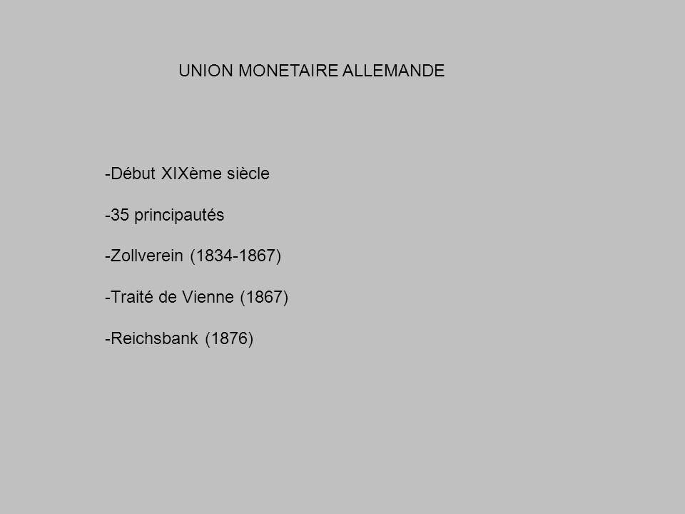 UNION MONETAIRE ALLEMANDE -Début XIXème siècle -35 principautés -Zollverein (1834-1867) -Traité de Vienne (1867) -Reichsbank (1876)