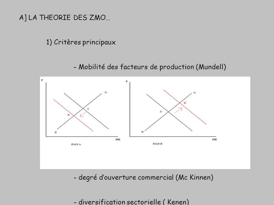 A] LA THEORIE DES ZMO… 1) Critères principaux - Mobilité des facteurs de production (Mundell) - degré douverture commercial (Mc Kinnen) - diversificat