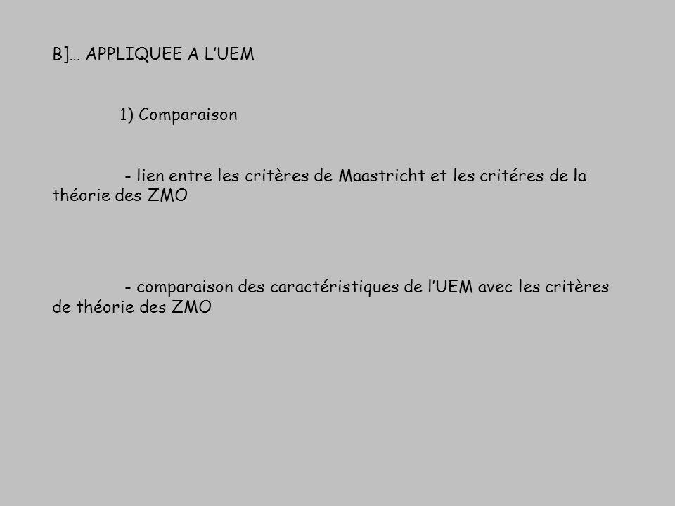 B]… APPLIQUEE A LUEM 1) Comparaison - lien entre les critères de Maastricht et les critéres de la théorie des ZMO - comparaison des caractéristiques d