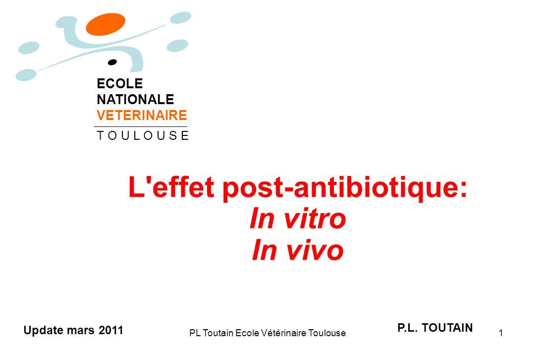 PL Toutain Ecole Vétérinaire Toulouse2 Maintien de la suppression de la croissance bactérienne après avoir enlevé l antibiotique du milieu PAE = délai à la croissance de 1 log 10 PAE = T - C T = culture exposée C = culture de contrôle L effet post-antibiotique (EPA)