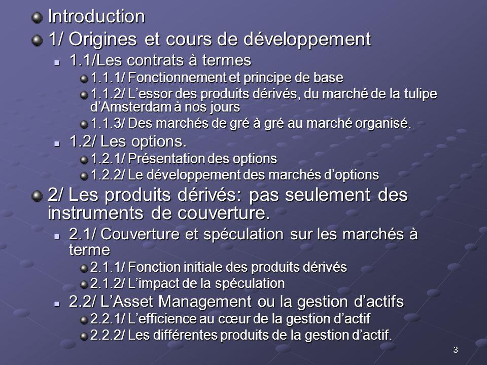 3 Introduction 1/ Origines et cours de développement 1.1/Les contrats à termes 1.1/Les contrats à termes 1.1.1/ Fonctionnement et principe de base 1.1