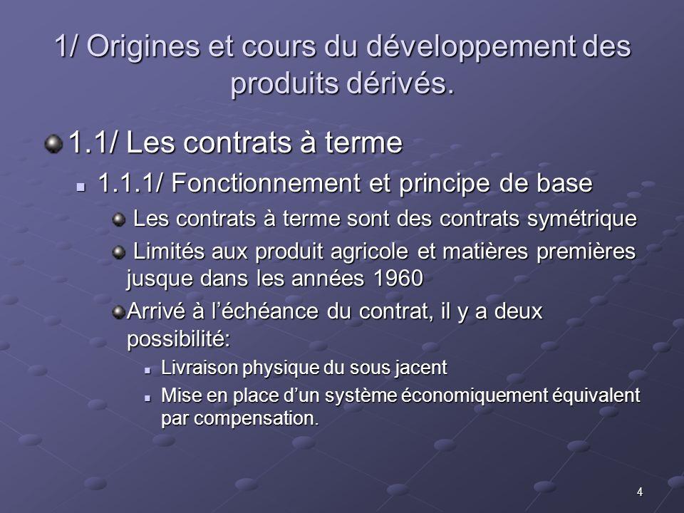 4 1/ Origines et cours du développement des produits dérivés. 1.1/ Les contrats à terme 1.1.1/ Fonctionnement et principe de base 1.1.1/ Fonctionnemen