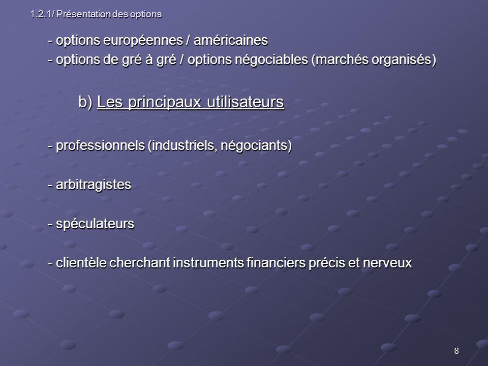 8 1.2.1/ Présentation des options - options européennes / américaines - options de gré à gré / options négociables (marchés organisés) b) Les principa