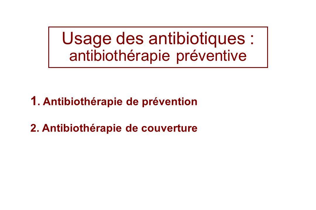 Usage des antibiotiques : antibiothérapie préventive 1. Antibiothérapie de prévention 2. Antibiothérapie de couverture