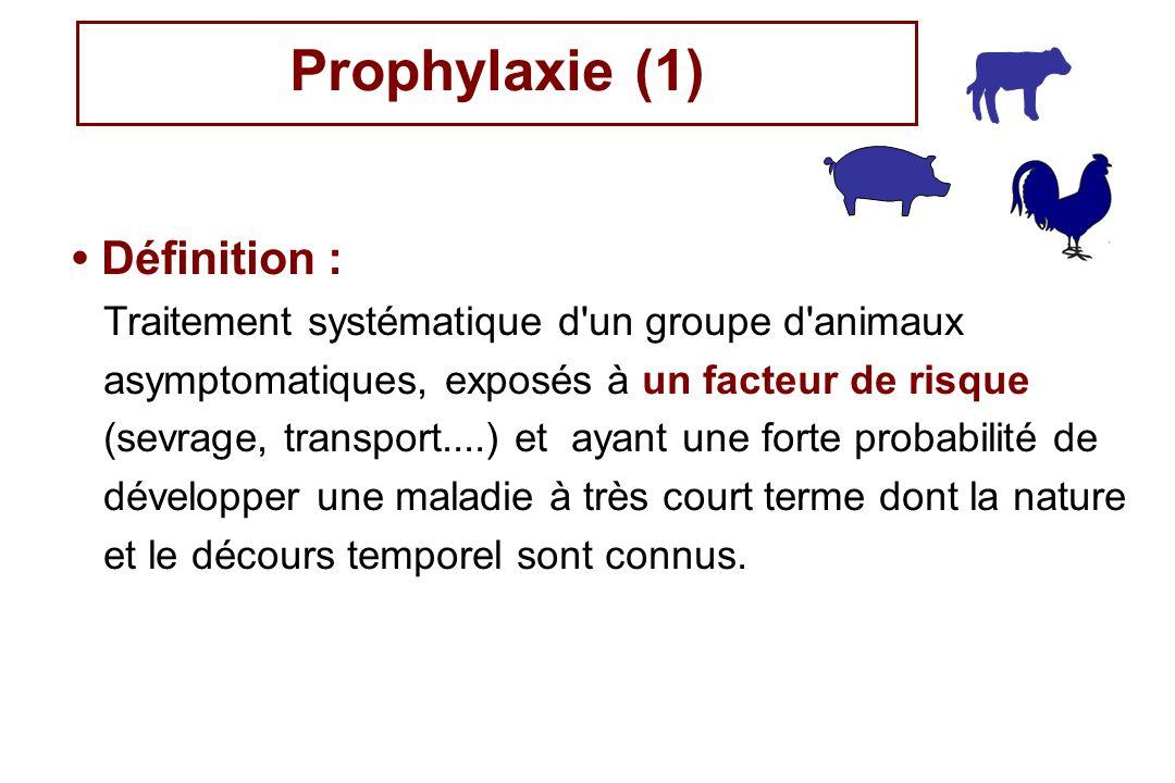 Prophylaxie (1) Définition : Traitement systématique d'un groupe d'animaux asymptomatiques, exposés à un facteur de risque (sevrage, transport....) et