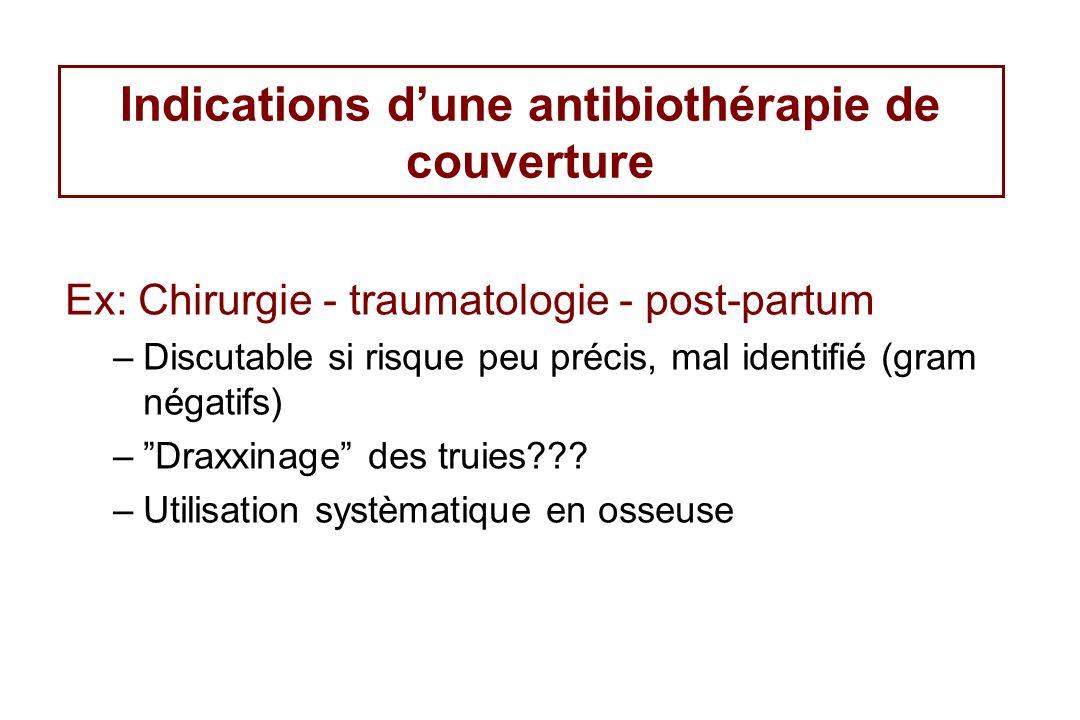 Indications dune antibiothérapie de couverture Ex: Chirurgie - traumatologie - post-partum –Discutable si risque peu précis, mal identifié (gram négat