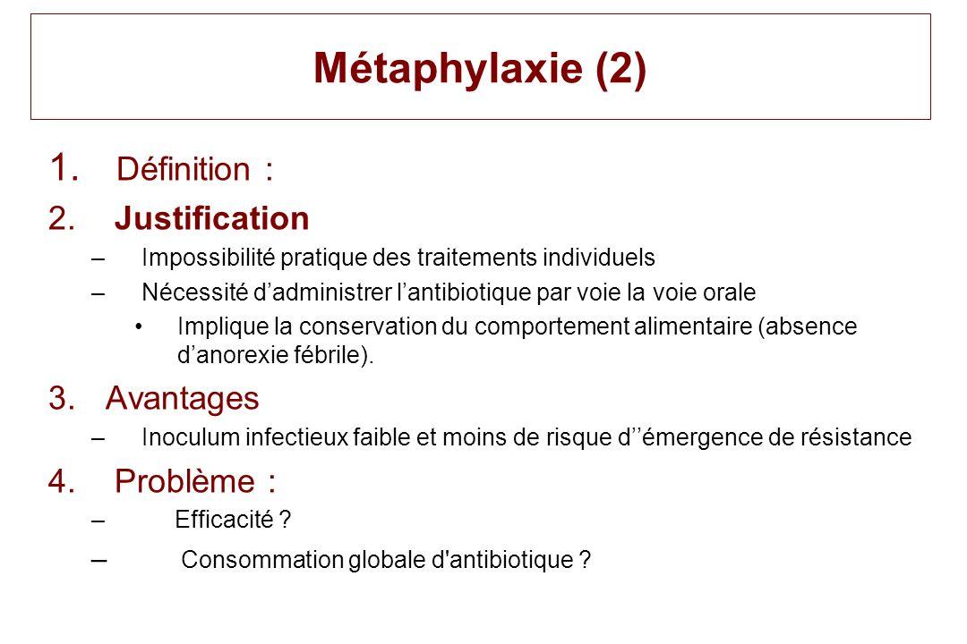 Métaphylaxie (2) 1. Définition : 2. Justification –Impossibilité pratique des traitements individuels –Nécessité dadministrer lantibiotique par voie l