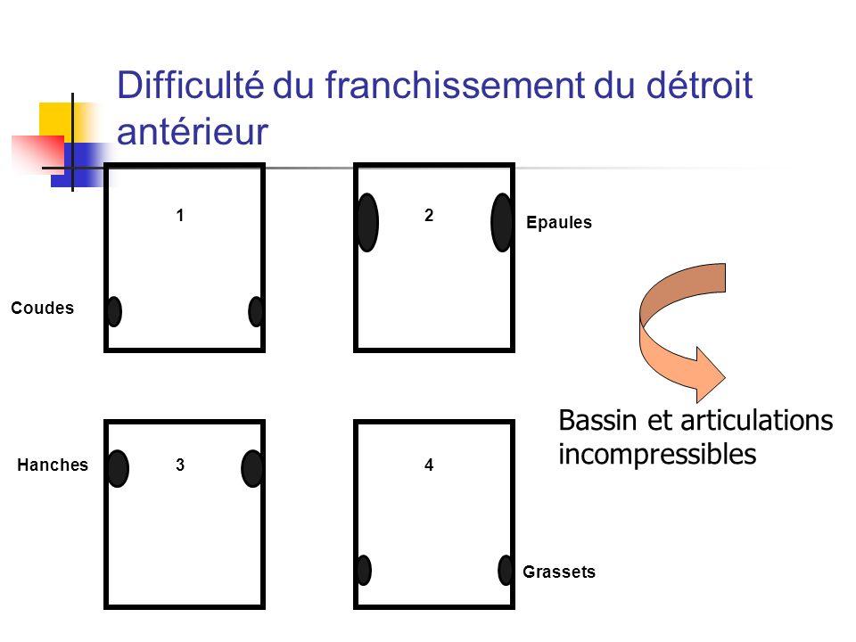 Coudes Hanches Epaules Grassets 1 3 2 4 Difficulté du franchissement du détroit antérieur Bassin et articulations incompressibles
