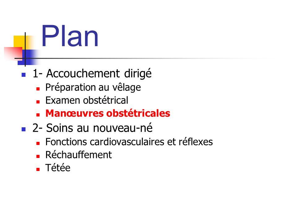 Plan 1- Accouchement dirigé Préparation au vêlage Examen obstétrical Manœuvres obstétricales 2- Soins au nouveau-né Fonctions cardiovasculaires et réflexes Réchauffement Tétée