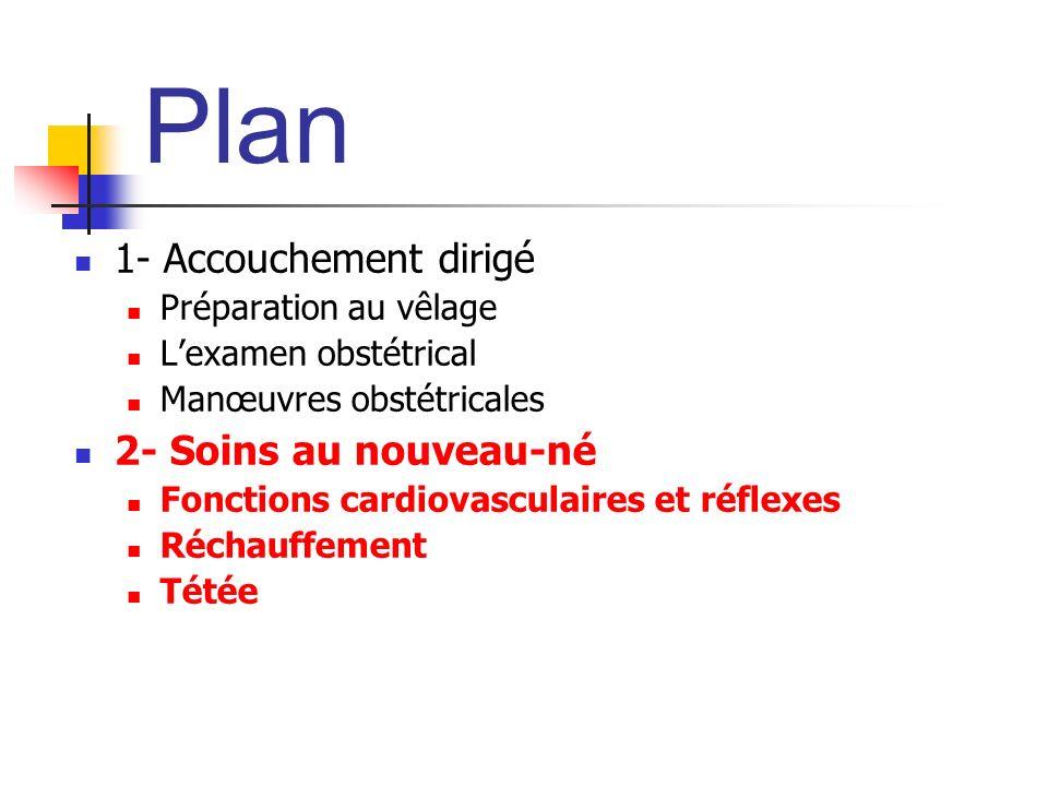 Plan 1- Accouchement dirigé Préparation au vêlage Lexamen obstétrical Manœuvres obstétricales 2- Soins au nouveau-né Fonctions cardiovasculaires et ré