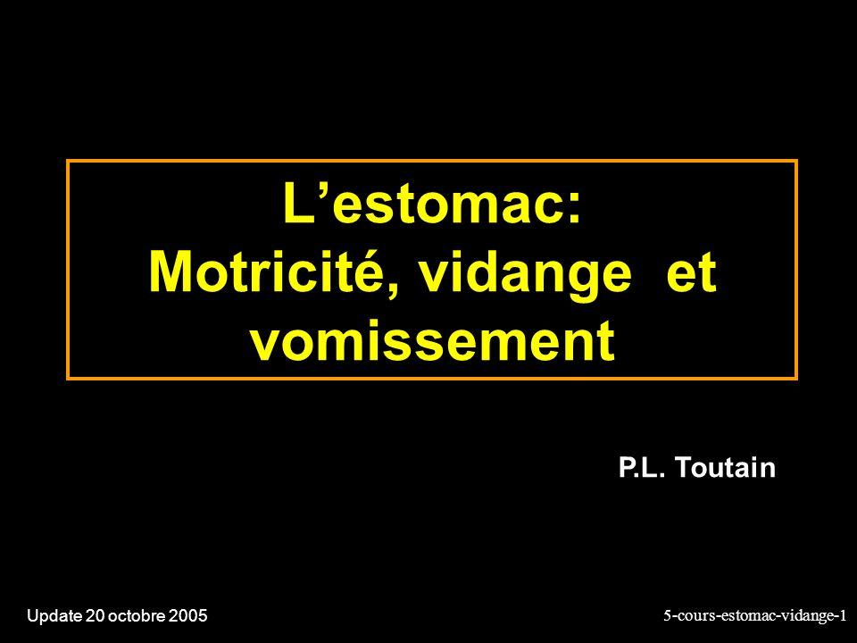 5-cours-estomac-vidange-1 Lestomac: Motricité, vidange et vomissement Update 20 octobre 2005 P.L. Toutain