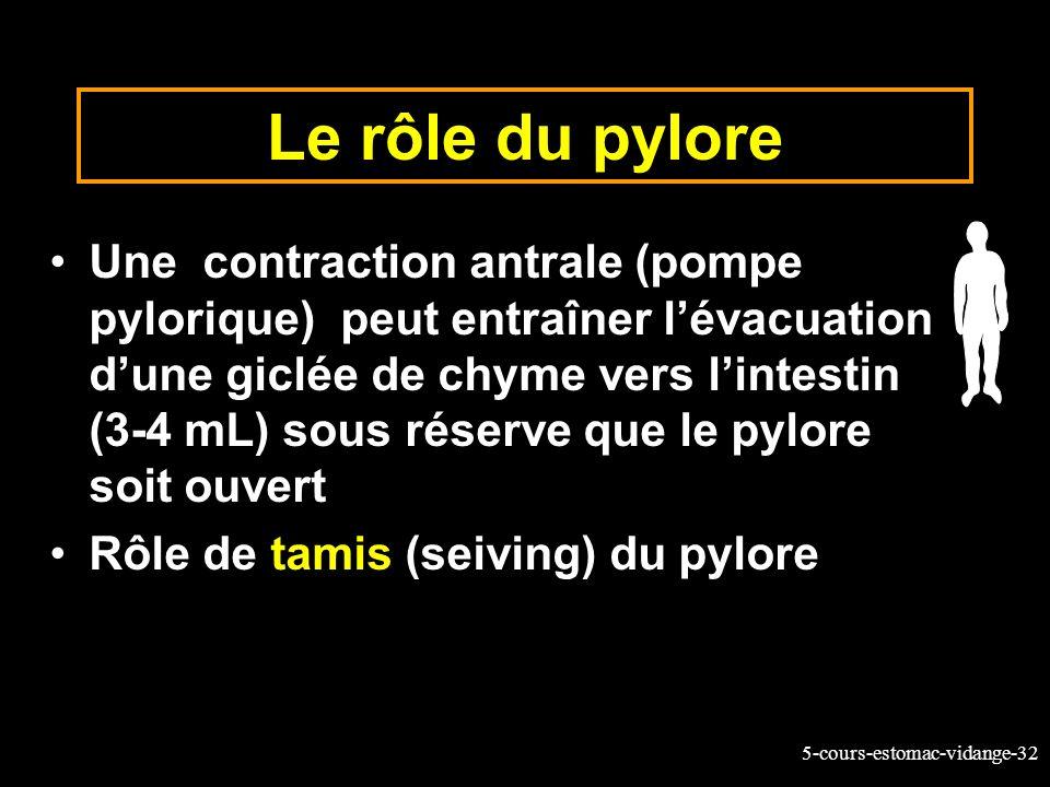 5-cours-estomac-vidange-32 Le rôle du pylore Une contraction antrale (pompe pylorique) peut entraîner lévacuation dune giclée de chyme vers lintestin