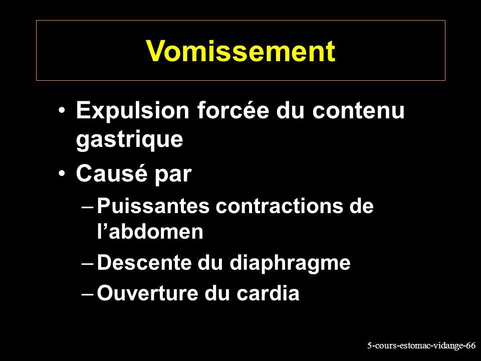 5-cours-estomac-vidange-66 Vomissement Expulsion forcée du contenu gastrique Causé par –Puissantes contractions de labdomen –Descente du diaphragme –O