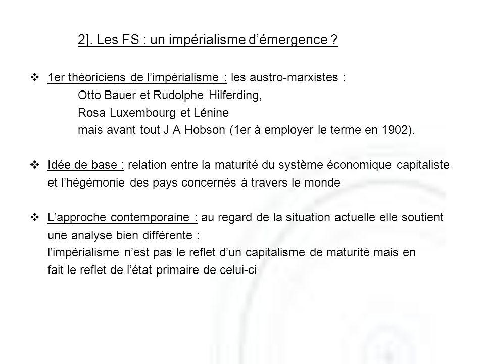 2]. Les FS : un impérialisme démergence ? 1er théoriciens de limpérialisme : les austro-marxistes : Otto Bauer et Rudolphe Hilferding, Rosa Luxembourg