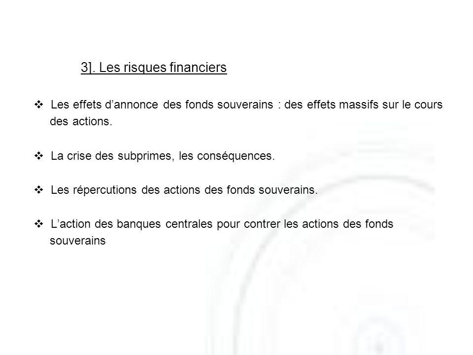 3]. Les risques financiers Les effets dannonce des fonds souverains : des effets massifs sur le cours des actions. La crise des subprimes, les conséqu