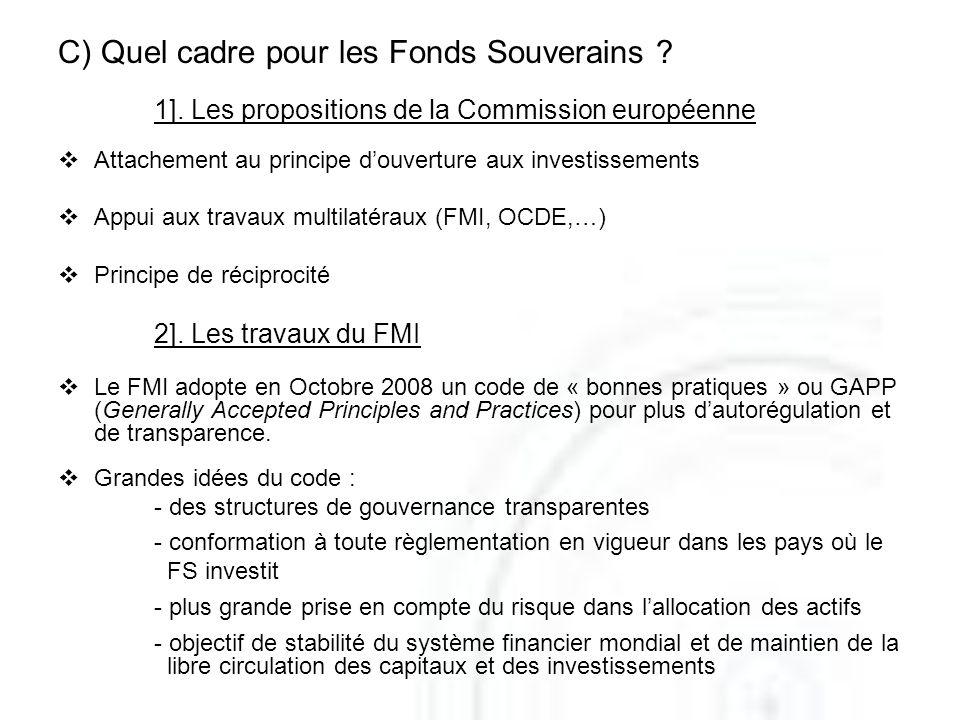 C) Quel cadre pour les Fonds Souverains ? 1]. Les propositions de la Commission européenne Attachement au principe douverture aux investissements Appu