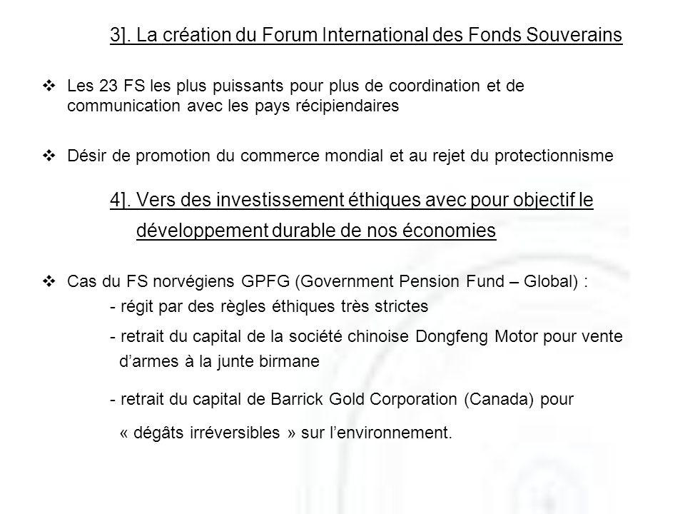 3]. La création du Forum International des Fonds Souverains Les 23 FS les plus puissants pour plus de coordination et de communication avec les pays r