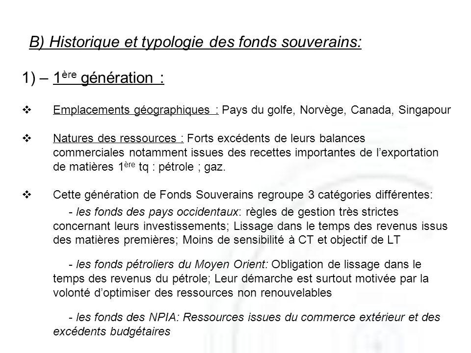 B) Historique et typologie des fonds souverains: 1) – 1 ère génération : Emplacements géographiques : Pays du golfe, Norvège, Canada, Singapour Nature