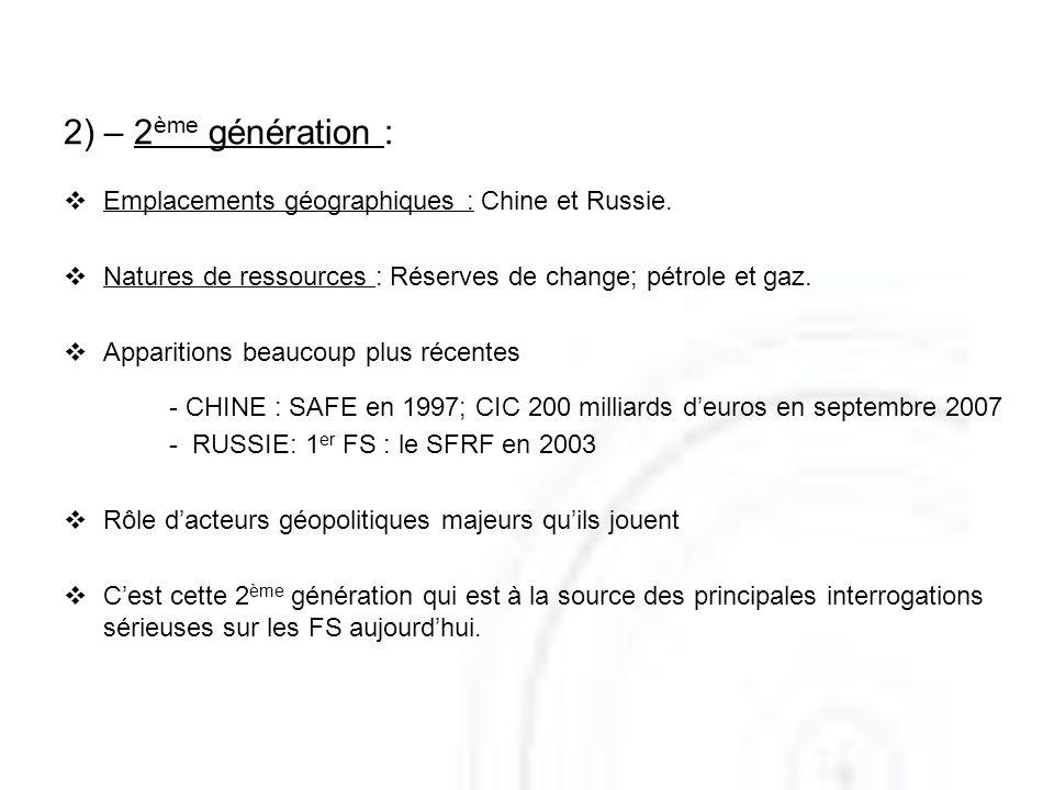 2) – 2 ème génération : Emplacements géographiques : Chine et Russie. Natures de ressources : Réserves de change; pétrole et gaz. Apparitions beaucoup