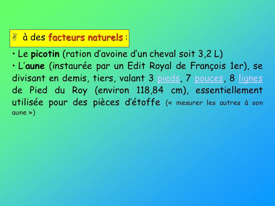 facteurs naturels à des facteurs naturels : Le picotin (ration davoine dun cheval soit 3,2 L) Laune (instaurée par un Edit Royal de François 1er), se