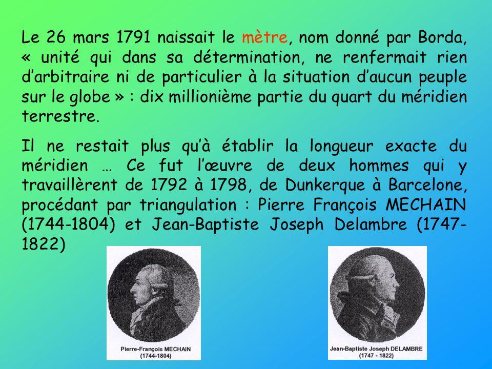Le 26 mars 1791 naissait le mètre, nom donné par Borda, « unité qui dans sa détermination, ne renfermait rien darbitraire ni de particulier à la situation daucun peuple sur le globe » : dix millionième partie du quart du méridien terrestre.