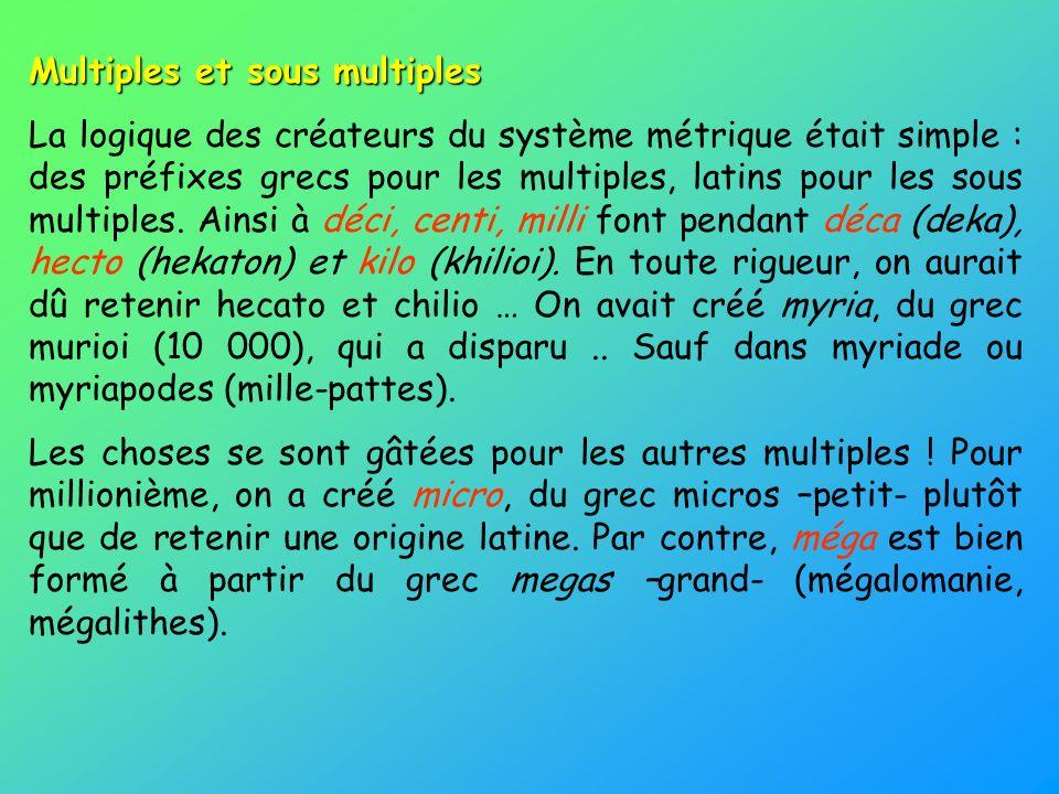 Multiples et sous multiples La logique des créateurs du système métrique était simple : des préfixes grecs pour les multiples, latins pour les sous mu