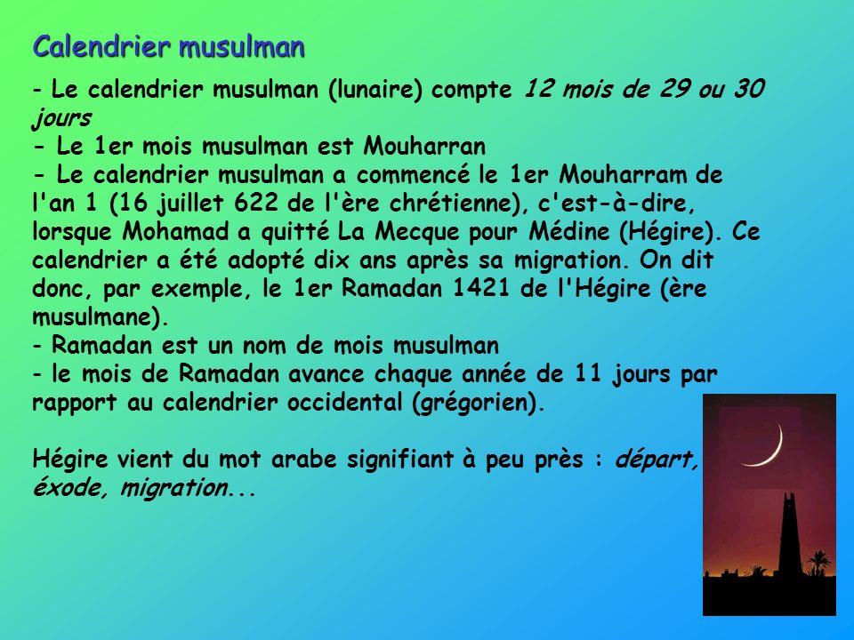 - Le calendrier musulman (lunaire) compte 12 mois de 29 ou 30 jours - Le 1er mois musulman est Mouharran - Le calendrier musulman a commencé le 1er Mo