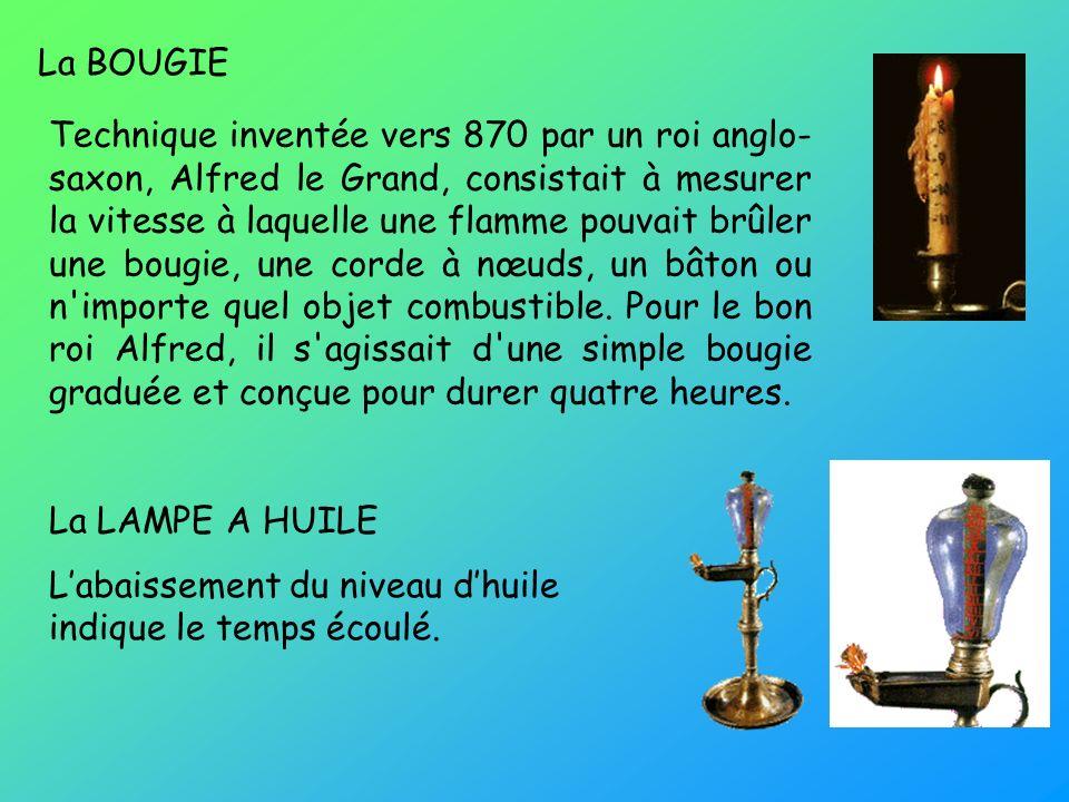 La BOUGIE La LAMPE A HUILE Labaissement du niveau dhuile indique le temps écoulé. Technique inventée vers 870 par un roi anglo- saxon, Alfred le Grand