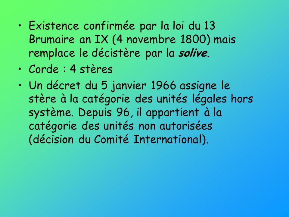 Existence confirmée par la loi du 13 Brumaire an IX (4 novembre 1800) mais remplace le décistère par la solive. Corde : 4 stères Un décret du 5 janvie