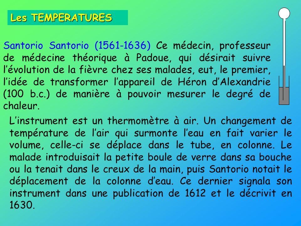 Santorio Santorio (1561-1636) Ce médecin, professeur de médecine théorique à Padoue, qui désirait suivre lévolution de la fièvre chez ses malades, eut