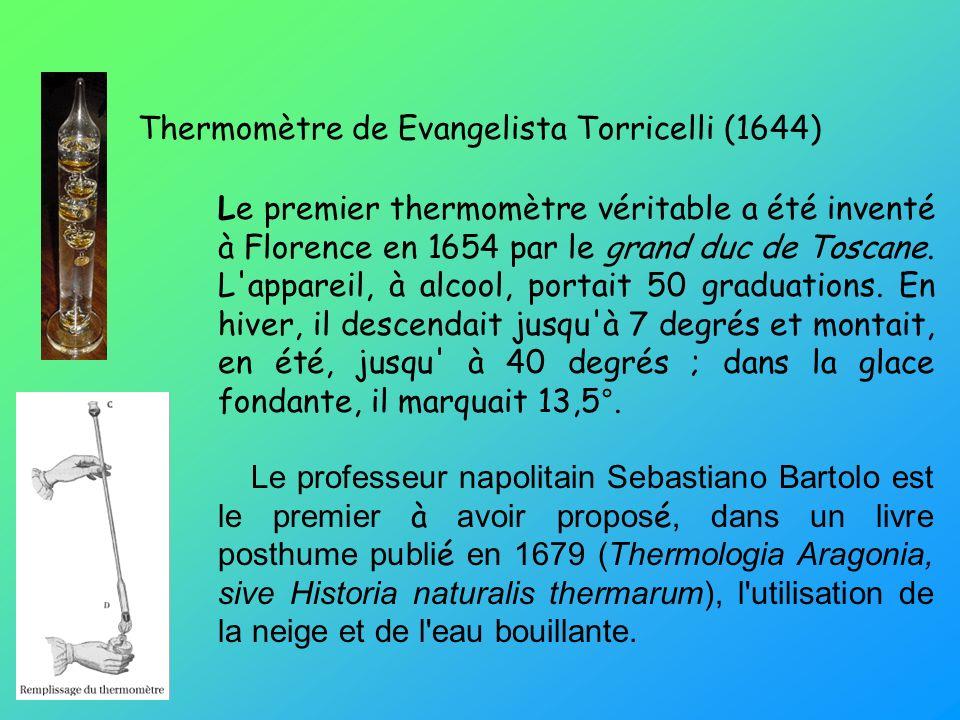 Thermomètre de Evangelista Torricelli (1644) Le premier thermomètre véritable a été inventé à Florence en 1654 par le grand duc de Toscane.