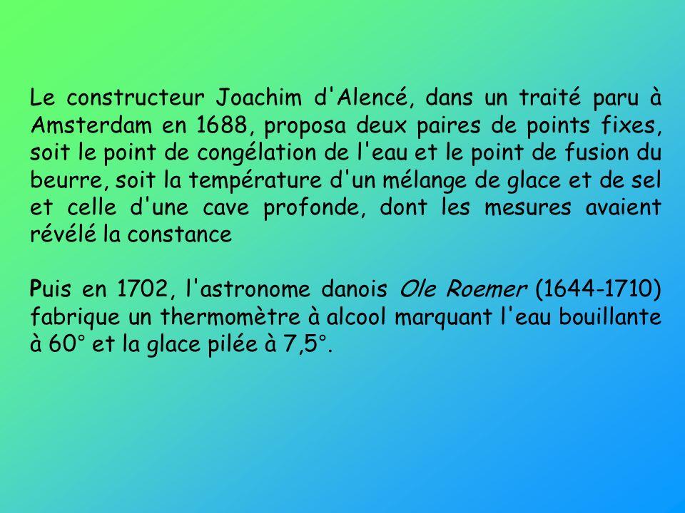 Le constructeur Joachim d'Alencé, dans un traité paru à Amsterdam en 1688, proposa deux paires de points fixes, soit le point de congélation de l'eau